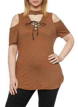 Plus Size Cold Shoulder Top with Lace Up Choker Keyhole - MOCHA - 1912058932081