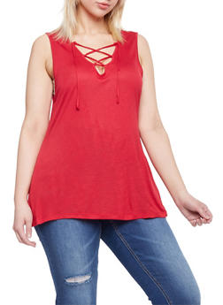 Plus Size Lace Up Sleeveless Top - RED - 1912058932147