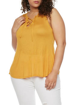 Plus Size Lace Up Sleeveless Top - MUSTARD - 1912058932147