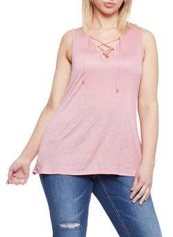 Plus Size Lace Up Sleeveless Top - BLUSH - 1912058932147