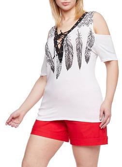 Plus Size Lace Up Cold Shoulder Feather Graphic Top - IVORY - 1912058932581