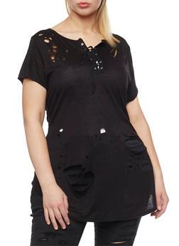 Plus Size Lasercut Lace Up Tunic T Shirt - BLACK - 1912058932681
