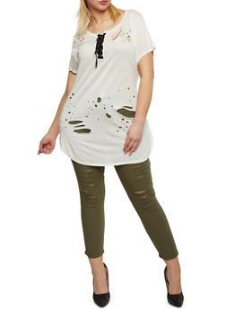 Plus Size Lasercut Lace Up Tunic T Shirt - IVORY - 1912058932681
