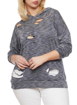 Plus Size Hooded Lasercut Sweater - 1912058932881