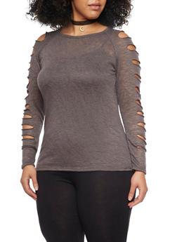 Plus Size Marled Slashed Sleeve Top - 1912058933018