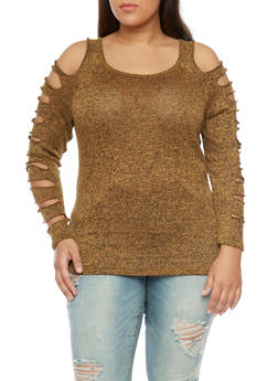 Plus Size Marled Slashed Sleeve Top - MUSTARD - 1912058933018