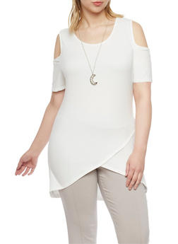 Plus Size Cold Shoulder Tulip Hem Tunic Top - 1912058933019