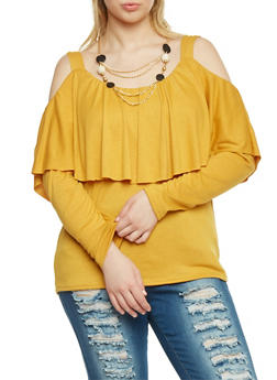 Plus Size Cold Shoulder Overlay Top with Necklace - MUSTARD - 1912058933020
