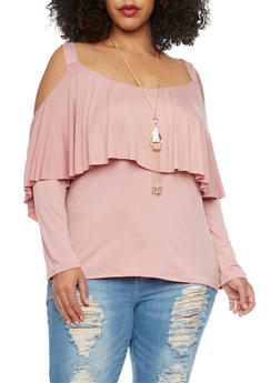 Plus Size Cold Shoulder Overlay Top with Necklace - 1912058933020