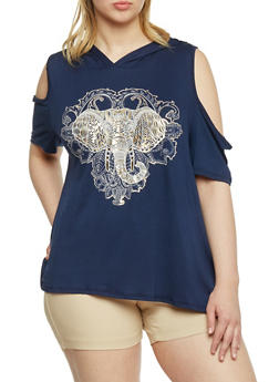 Plus Size Cold Shoulder Foil Elephant Graphic Hooded Top - 1912058933021