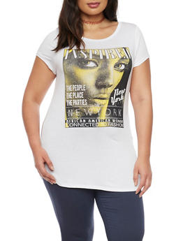 Plus Size New York Inspired Magazine Graphic Top - 1912058933023