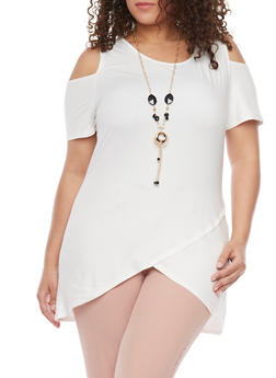 Plus Size Cold Shoulder Tulip Hem Top with Necklace - IVORY - 1912058933026