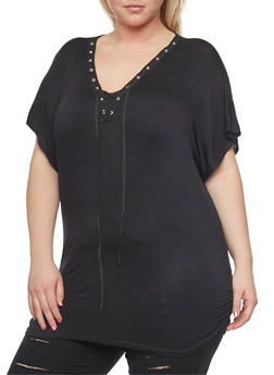 Plus Size Lace Up Grommet Top with Ruched Sides - 1912058933036