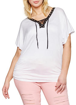 Plus Size Lace Up Grommet Top with Ruched Sides - WHITE - 1912058933036