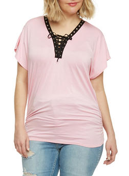 Plus Size Lace Up Grommet Top with Ruched Sides - PINK - 1912058933036
