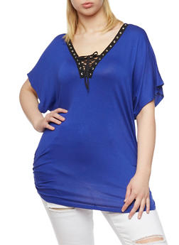 Plus Size Lace Up Grommet Top with Ruched Sides - ROYAL - 1912058933036