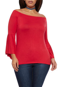 Plus Size Off the Shoulder Top with Bell Sleeves - 1912058934100