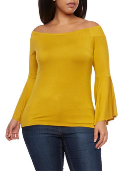 Plus Size Off the Shoulder Top with Bell Sleeves - MUSTARD - 1912058934100