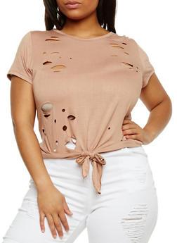 Plus Size Lasercut Tie Front T Shirt - 1912058934160