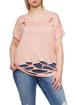 Plus Size Short Sleeve Lasercut T Shirt - 1912058934460