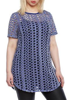 Plus Size Short Sleeve Open Knit Crochet Tunic with Rounded Hem,ROYAL,medium