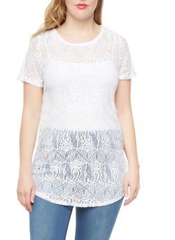 Plus Size Crochet Tunic With Short Sleeves,WHITE,medium