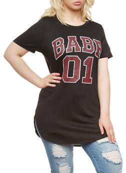 Plus Size Babe 01 Tunic Top With Slash Cut Back,BLACK,medium