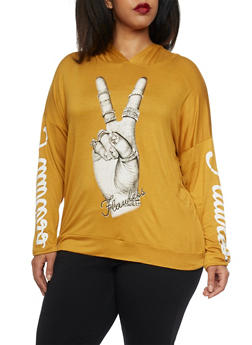 Plus Size Flawless Peace Graphic Hooded - MUSTARD - 1912058936110