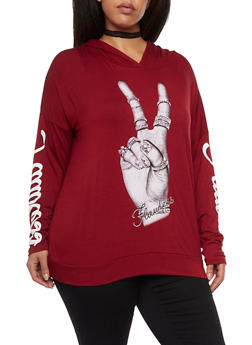 Plus Size Flawless Peace Graphic Hooded - 1912058936110