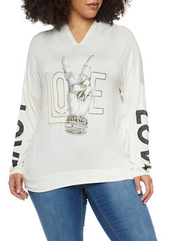 Plus Size Love and Peace Graphic Long Sleeve Hooded Top - 1912058936210