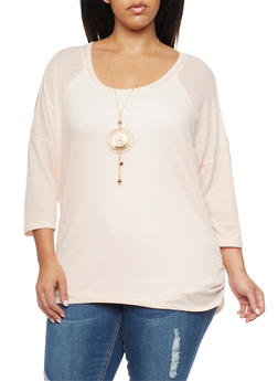 Plus Size Cold Shoulder Waffle Knit Top with Necklace - 1912058936610