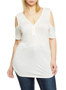 Plus Size Cold Shoulder Zip Front Tunic Top - IVORY - 1912058937017