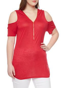 Plus Size Cold Shoulder Zip Front Tunic Top - 1912058937017
