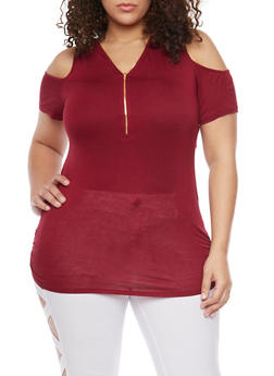 Plus Size Cold Shoulder Zip Front Tunic Top - BURGUNDY - 1912058937017