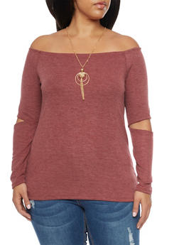 Plus Size Off the Shoulder Top with Slash Sleeves - BURGUNDY - 1912058937051