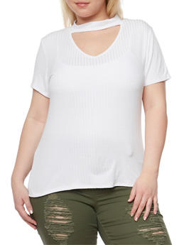 Plus Size Solid Rib Knit Choker Top - WHITE - 1912058937203