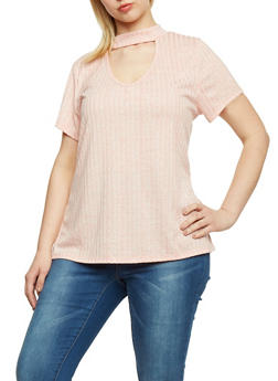 Plus Size Solid Rib Knit Choker Top - 1912058937203