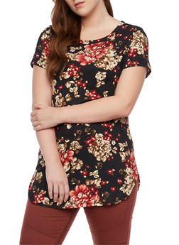 Plus Size Floral Top with Short Sleeves - 1912058937510