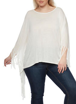Plus Size Solid Poncho Top with Fringe Trim - 1912058937522