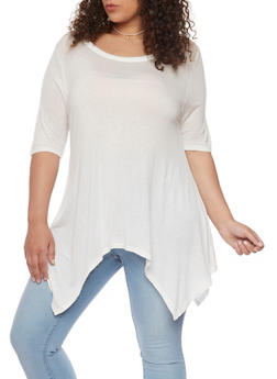 Plus Size Scoop Neck Sharkbite Top - WHITE - 1912058937523