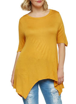 Plus Size Scoop Neck Sharkbite Top - MUSTARD - 1912058937523