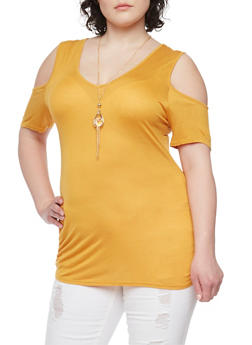Plus Size Cold Shoulder Top with Necklace - MUSTARD - 1912058937524