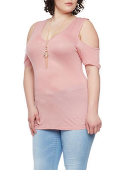 Plus Size Cold Shoulder Top with Necklace - 1912058937524