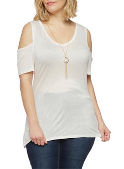 Plus Size Cold Shoulder Top with Rhinestone Pendant Necklace - WHITE - 1912058937525