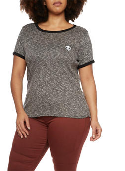 Plus Size Ringer Tee with Embroidered Panda - 1912058937580