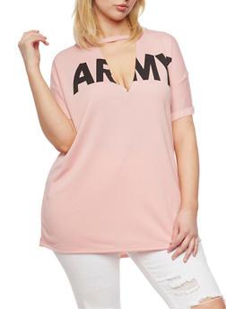 Plus Size Short Sleeve Keyhole Army T Shirt - 1912058937601