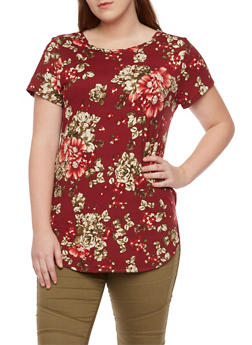 Plus Size Floral Top with Short Sleeves - 1912058937610