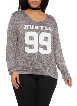 Plus Size Top with Hustle 99 Print - 1912058937631