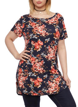 Plus Size Short Sleeve Tunic Top with Floral Print - 1912058937710