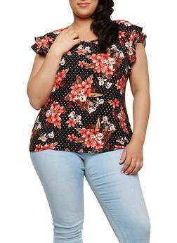 Plus Size Polka Dot Floral Top - 1912060580006